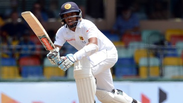 Kusal Mendis pushes down the ground