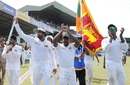 Dinesh Chandimal, Rangana Herath and Angelo Mathews during a lap of honour, Sri Lanka v Australia, 3rd Test, SSC, 5th day, August 17, 2016