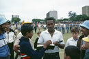 Emmerson Trotman signs autographs for fans in South Africa, Durban, February, 1983