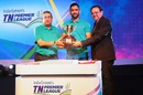 N Srinivasan, MS Dhoni and TNPL chairman PS Raman unveil the tournament trophy, Chennai, August 18, 2016