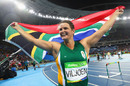 Sunette Viljoen celebrates winning the silver medal in the women's javelin final at the Rio Olympics, Rio de Janeiro, August 18, 2016