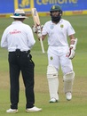 Hashim Amla celebrates his half-century, South Africa v New Zealand, 1st Test, Durban, 1st day, August 19, 2016