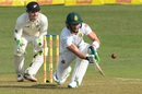 Faf du Plessis plays the sweep shot, South Africa v New Zealand, 1st Test, Durban, 1st day, August 19, 2016