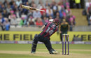 Swinging hard: Rob Keogh loses his bat, Nottinghamshire v Northamptonshire, NatWest T20 Blast, 1st semi-final, Edgbaston, August 20, 2016