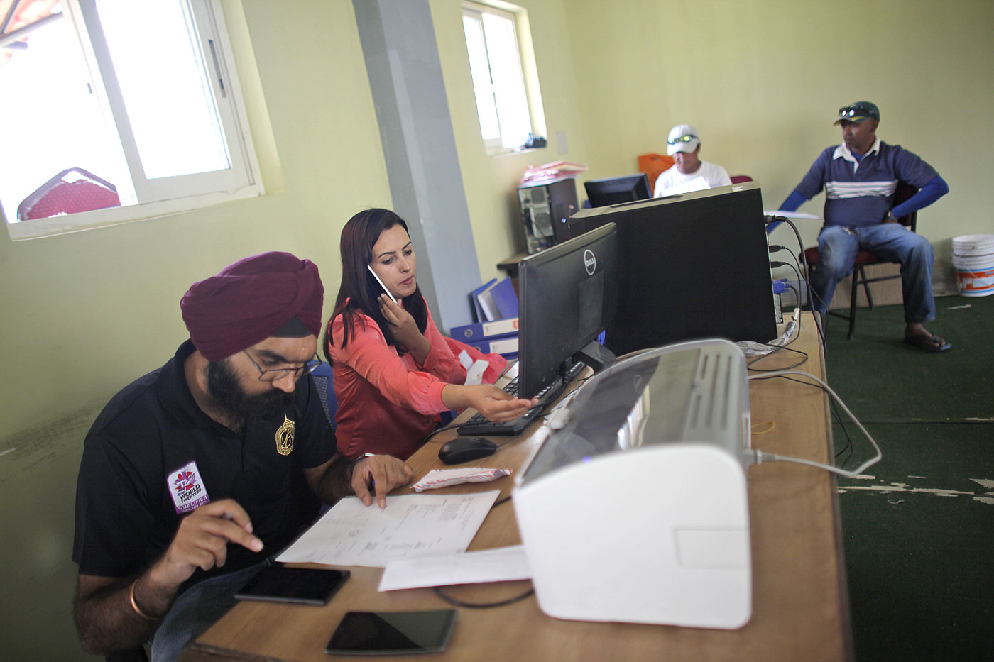 Ghimire and her staff at work at an office at the Tribhuvan University ground