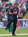 Rory Kleinveldt celebrates his dismissal of Alex Hales, Nottinghamshire v Northamptonshire, NatWest T20 Blast, 1st semi-final, Edgbaston, August 20, 2016