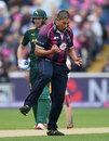 Rory Kleinveldt celebrates his dismissal of Alex Hales, Nottinghamshire v Northamptonshire, NatWest T20 Blast, 1st semi-final, Edgbaston, August 20, 2016