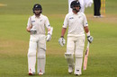 Kane Williamson and Ross Taylor walk off in the gloom, South Africa v New Zealand, 1st Test, Durban, 2nd day, August 20, 2016