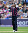 Azharullah celebrates after completing the final over, Nottinghamshire v Northamptonshire, NatWest T20 Blast, 1st semi-final, Edgbaston, August 20, 2016