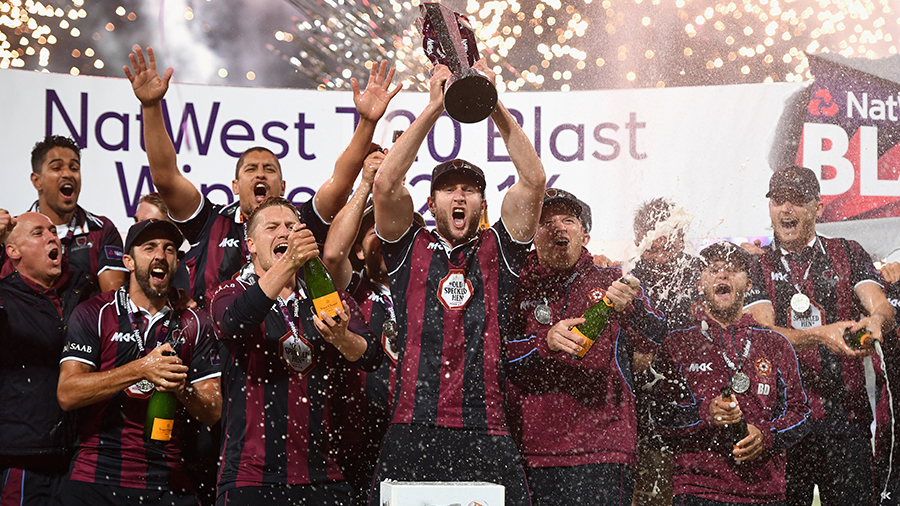 Northamptonshire celebrate their Natwest t20 Blast win
