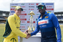 Steven Smith and Angelo Mathews with the trophy before the start of the first ODI, Sri Lanka v Australia, 1st ODI, Colombo, August 21, 2016