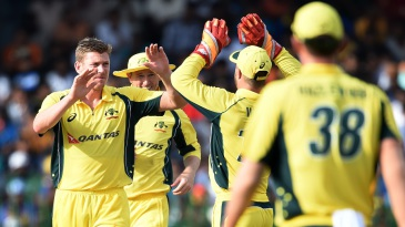 James Faulkner took two wickets in the 30th over