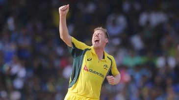James Faulkner is jubilant after taking the wicket of Angelo Mathews