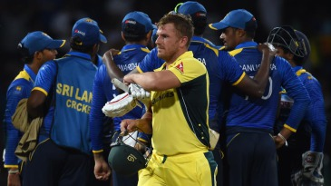 Aaron Finch looked markedly disgruntled after being given out