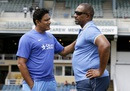 India coach Anil Kumble and West Indies coach Phil Simmons are engaged in conversation, West Indies v India, 4th Test, Port of Spain, 4th day, August 21, 2016