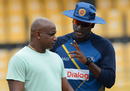 Angelo Mathews and Sanath Jayasuriya in discussion during a Sri Lanka training session, R Premadasa Stadium, August 23, 2016