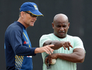 Sanath Jayasuriya and Graham Ford have a chat during a training session, R Premadasa Stadium, August 23, 2016