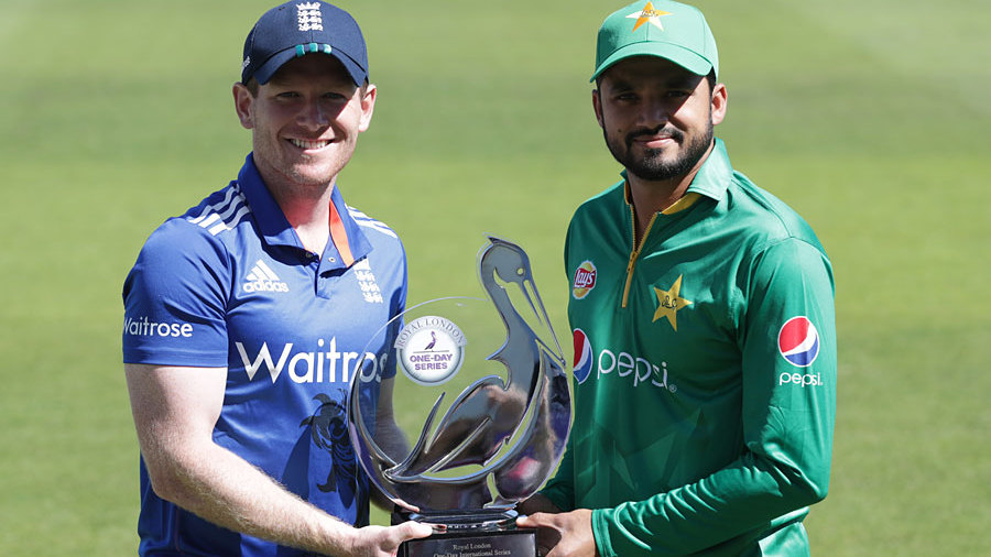 Eoin Morgan and Azhar Ali with the Royal London trophy