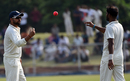 Suresh Raina tosses the pink ball to bowler Ashok Dinda, India Green v India Red, Duleep Trophy 2016-17, 1st day, Greater Noida, August 23, 2016