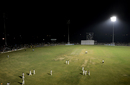 Players walk off the field after a floodlight tower stopped functioning, India Green v India Red, Duleep Trophy 2016-17, 1st day, Greater Noida, August 23, 2016