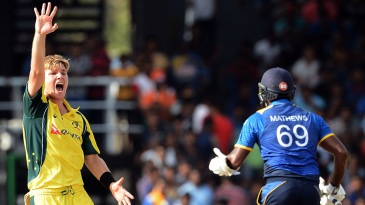 Adam Zampa successfully appeals for the wicket of Kusal Mendis