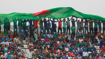 Bangladesh fans cheer for the team