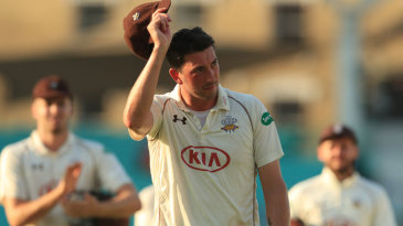 Mark Footitt takes the applause after bowling Surrey to the brink of victory