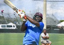 Chris Gayle practices his big hitting, Lauderhill, August 26, 2016