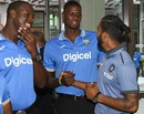 KL Rahul has a cordial exchange with Jason Holder and Carlos Brathwaite, Fort Lauderdale, August 26, 2016