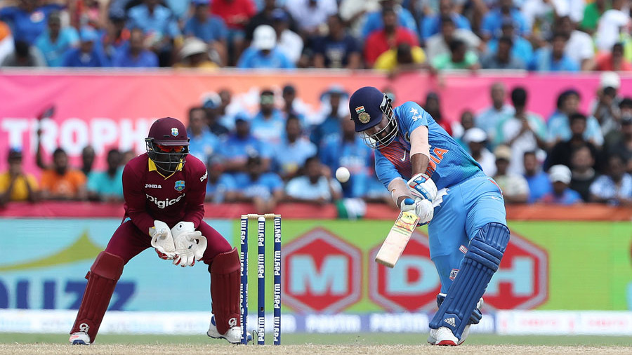 KL Rahul lofts the ball over long-off