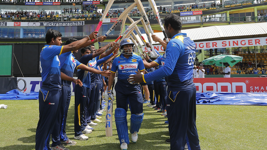Tillakaratne Dilshan is greeted as he walks out to bat in his final ODI
