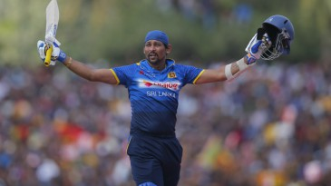Tillakaratne Dilshan acknowledges the crowd after his dismissal in his final ODI