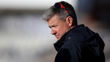 Ashley Giles watches the match