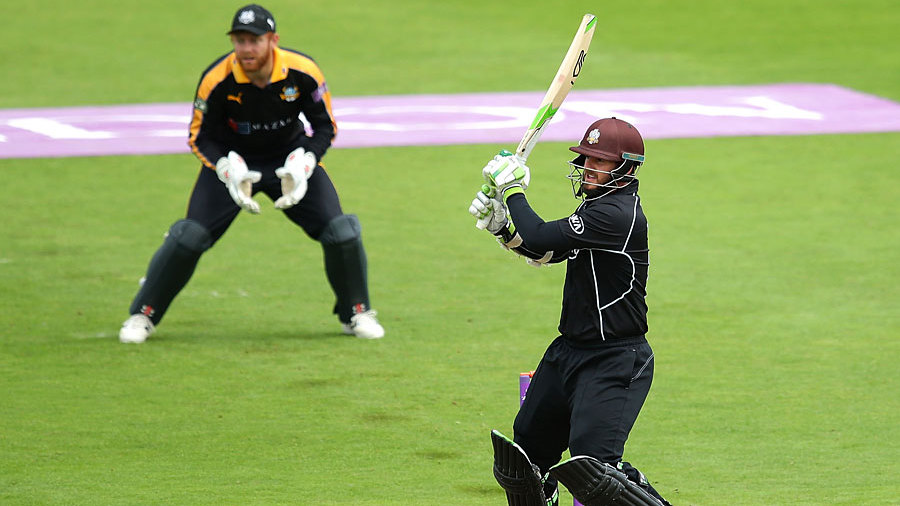 Steven Davies pulls during his hundred