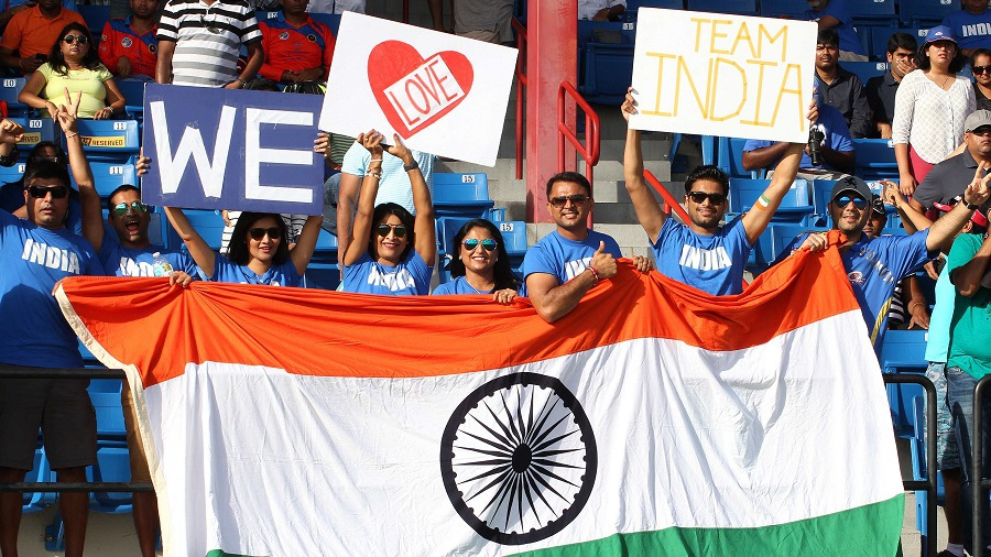 Enthusiastic Indian fans show their support