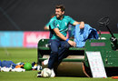 Liam Plunkett takes some time out during training, Trent Bridge, August 29, 2016