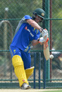 David Warner plays a shot in the nets, Dambulla, August 30, 2016