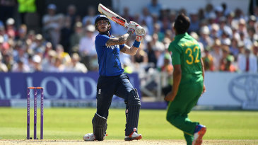 Alex Hales dumps a Hasan Ali free hit into the stands for six