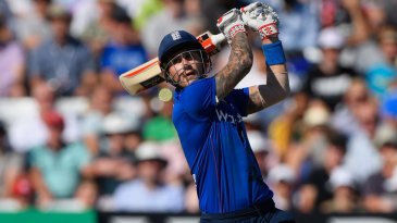 Alex Hales swings hard on his way to a hundred