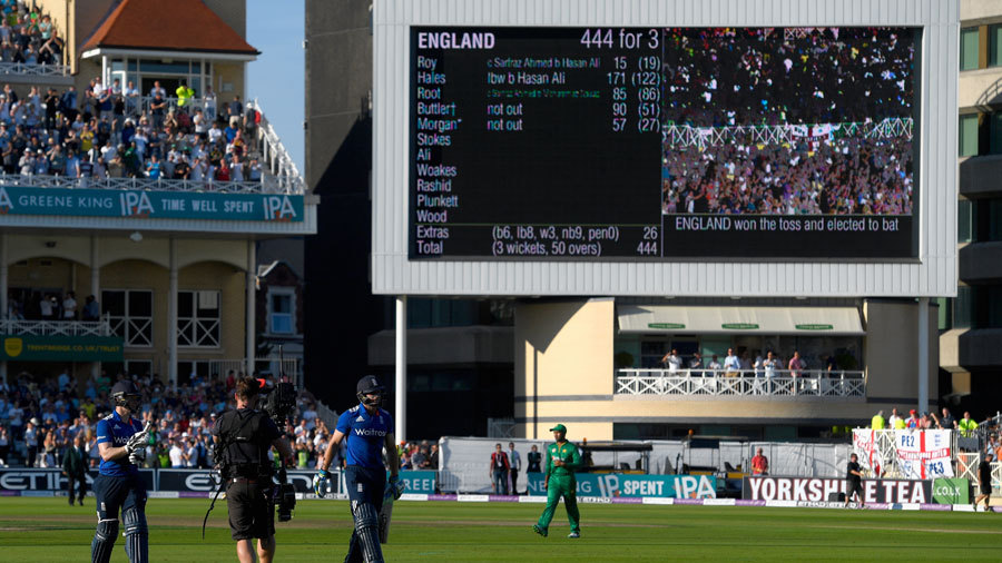 England's total of 444 for 3 was the highest in ODIs