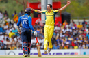 Mitchell Starc is elated after dismissing Avishka Fernando for a duck in the first over, Sri Lanka v Australia, 4th ODI, Dambulla, August 31, 2016