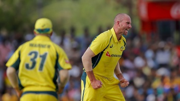 John Hastings celebrates a wicket