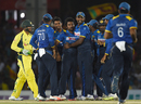 Team-mates gather around Sachith Pathirana after he took the wicket of Usman Khawaja, Sri Lanka v Australia, 4th ODI, Dambulla, August 31, 2016