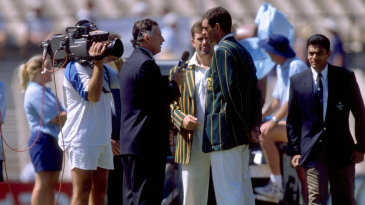 Commentator Ian Chappell talks to Hansie Cronje and Mark Taylor at the toss