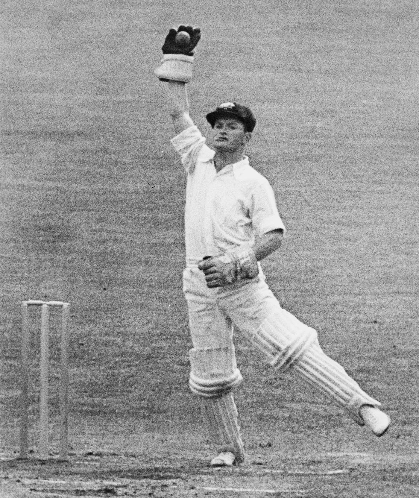 Maddocks in action in a match against Surrey on the 1956 tour