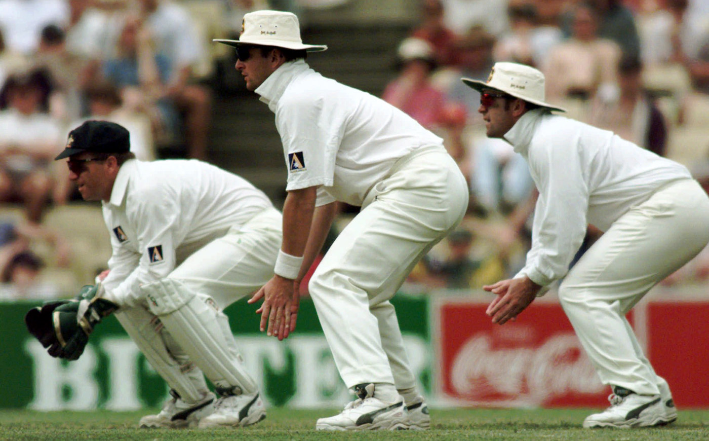 (From left) Ian Healy fields alongside Mark Taylor and Mark Waugh at the SCG against West Indies in 1996