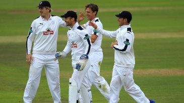 Brad Wheal celebrates a wicket