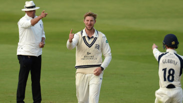 Ollie Rayner picked up his sixth wicket of the match