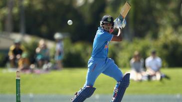 Shreyas Iyer plays a cut shot during his 41