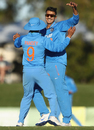 Axar Patel celebrates a wicket with Manish Pandey, Australia A v India A, Quadrangular A-team one-day series, final, Mackay, September 4, 2016
